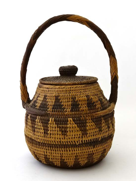 An African Woven Basket With Lid And Handle 13 High