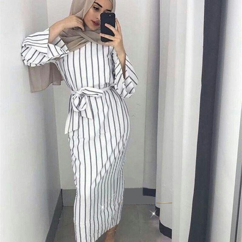 Lady Muslim Maxi Dress Trumpet Sleeve Abaya Long Skirt Robe Gowns Belt Arabian Tunic Fress Robe Dress for Women