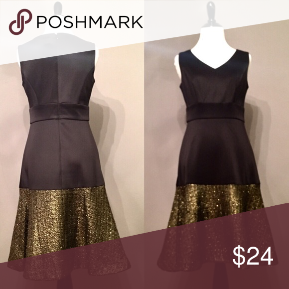 Black Dress With Gold Trim Perfect For The Holiday Season Worn Once Very Flattering Sangria Dresses Midi Sangria Dress Black Dress Dresses