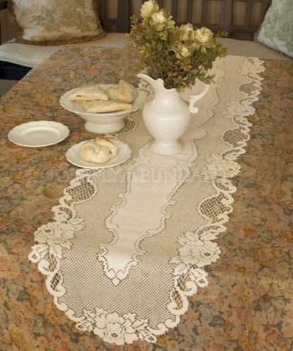 Vintage Rose Table Runner by Heritage Lace, Choice of 3 Sizes, 2 Colors, Classic