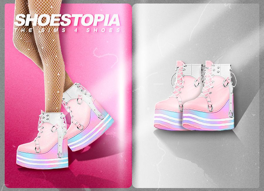 Rainbow Boots Shoestopia Shoes For The Sims 4 Shoestopia Sims 4 Cc Shoes Sims Sims 4