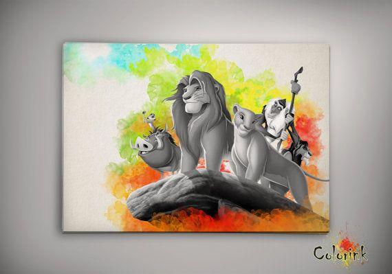 Lion King Home Decor: Lion King Simba Family Disney Watercolor Nursery Art For
