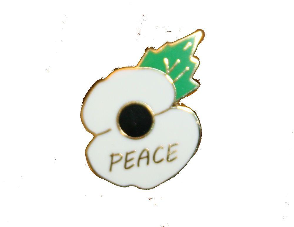 WHITE POPPY for PEACE - enamel pin/lapel badge - 20mm x 18 4mm in