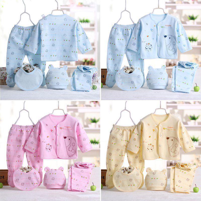 8464b1822 5Pcs Set Newborn Baby PantsT-Shirt Infant Unisex Boy Girl Outfit Cotton  Clothes  fashion  clothing  shoes  accessories  babytoddlerclothing ...