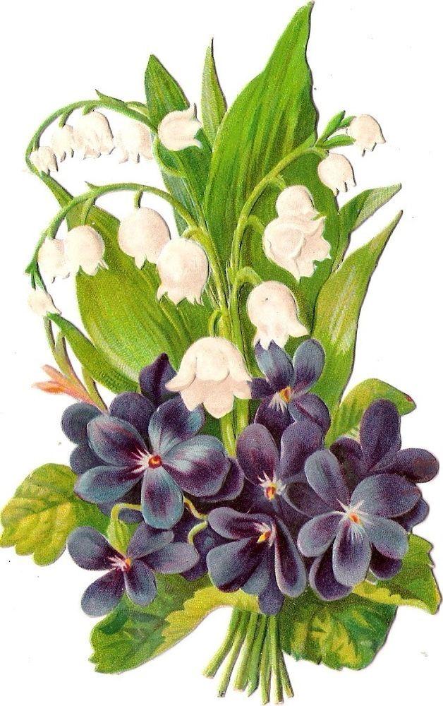 Oblaten Glanzbild scrap die cut chromo Blume flower 13 cm Veilchen violet