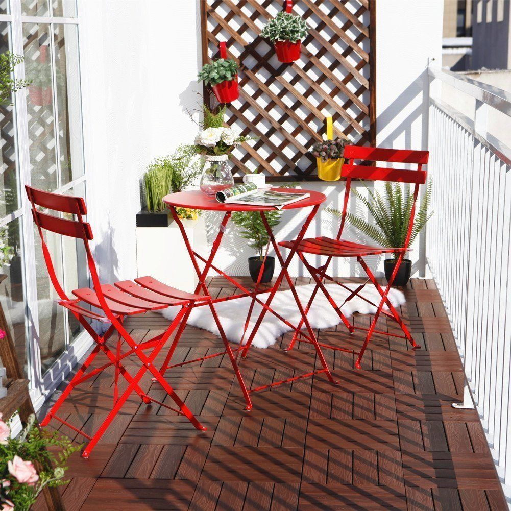 Grand Patio Steel 3 Piece Outdoor Folding Bistro Table Set (Red), Patio