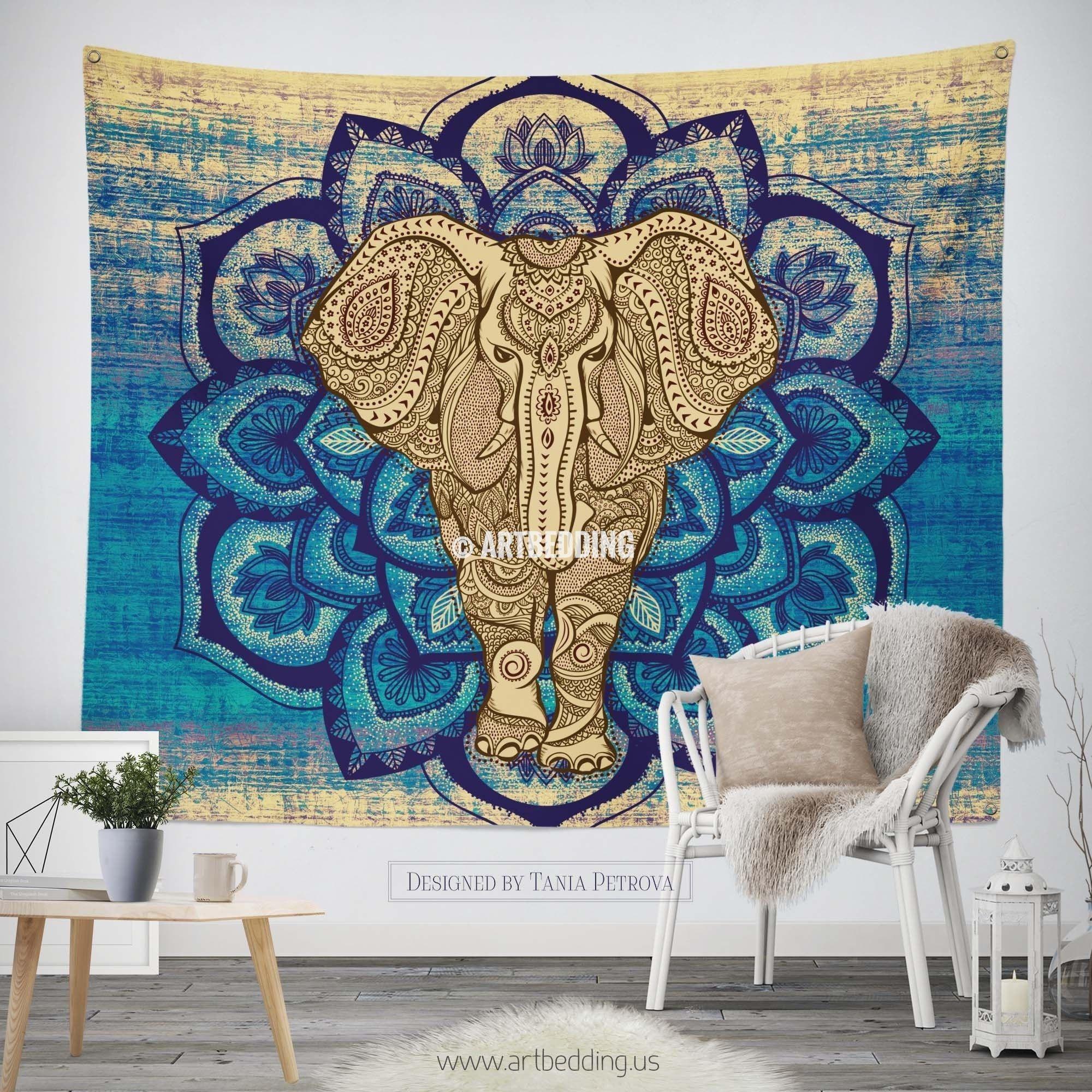 Elephant Tapestry Lotus Mandala Wall Tapestry Hippie Tapestry Wall Hanging Bohemian Wall Tapestries Boho Elephant Bedspread Elephant Tapestry Bohemian Wall Tapestry Wall Tapestry