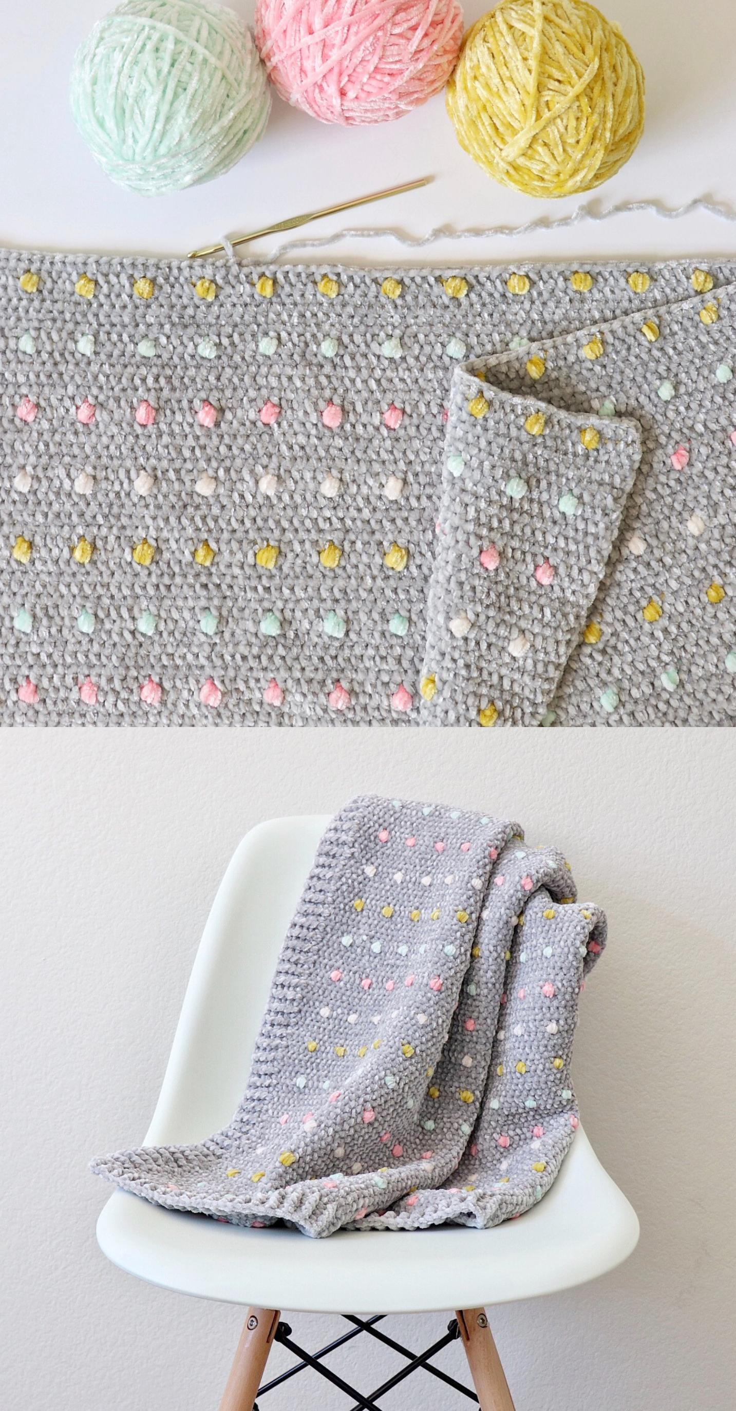 Kostenlose Häkelärmel Muster – Candy Strick Babydecke
