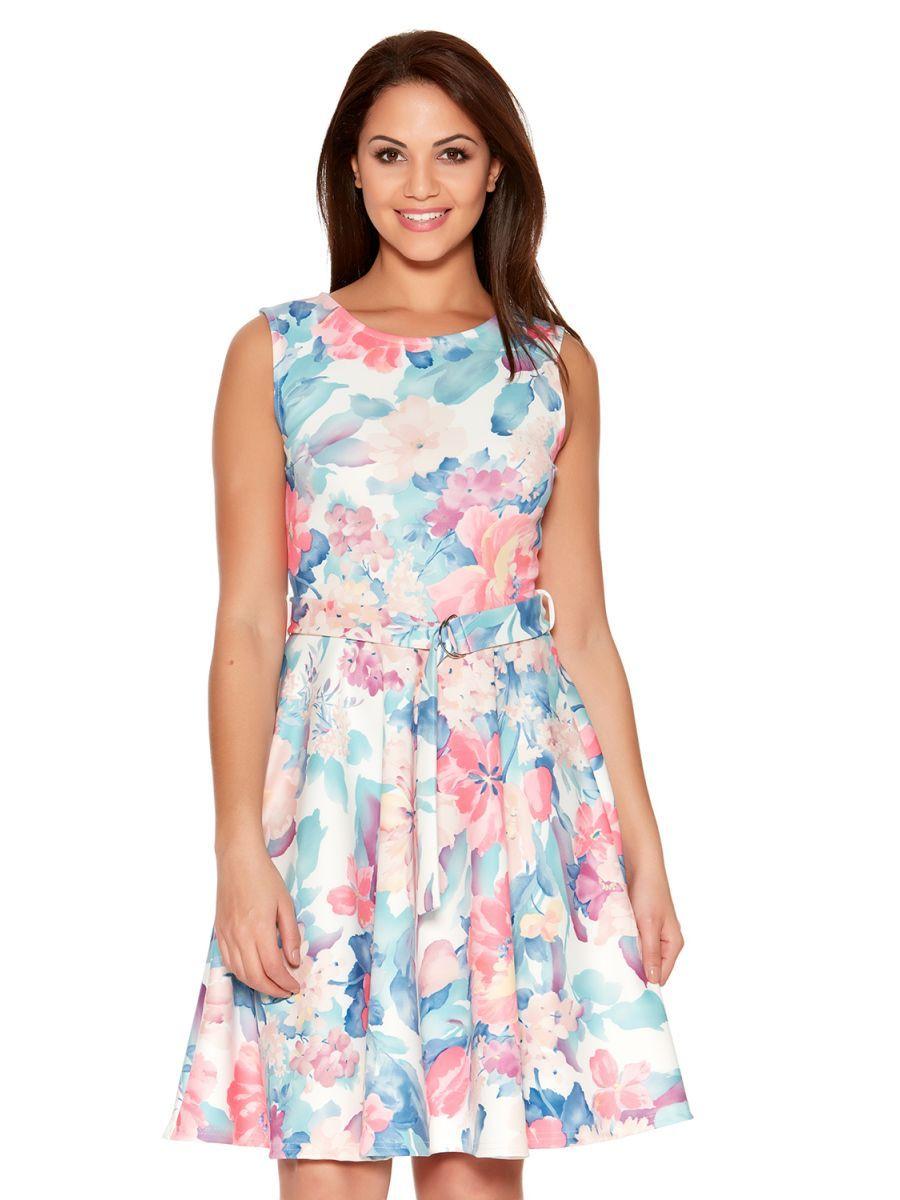 Cream and pink flower belt skater dress women dress