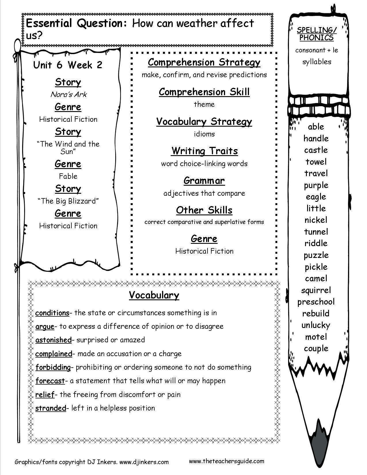Wonders Third Grade Unit Six Week Two Printouts