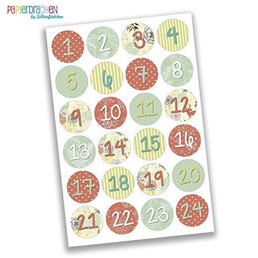 24 Adventskalender Zahlen Aufkleber Bunt Nr 24