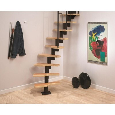 Dolle Graz X 9 5 Ft Black Modular Staircase Kit Lowes Com In 2020 Stair Kits Modular Staircase Staircase Kits