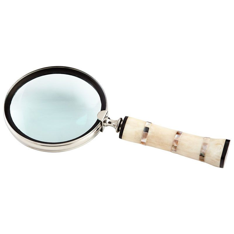 Cyan Design Watson Magnifier Watson 1.5 Inch Tall Brass Magnifier Made in India Nickel and Bone Home Decor Accents Statues & Figurines