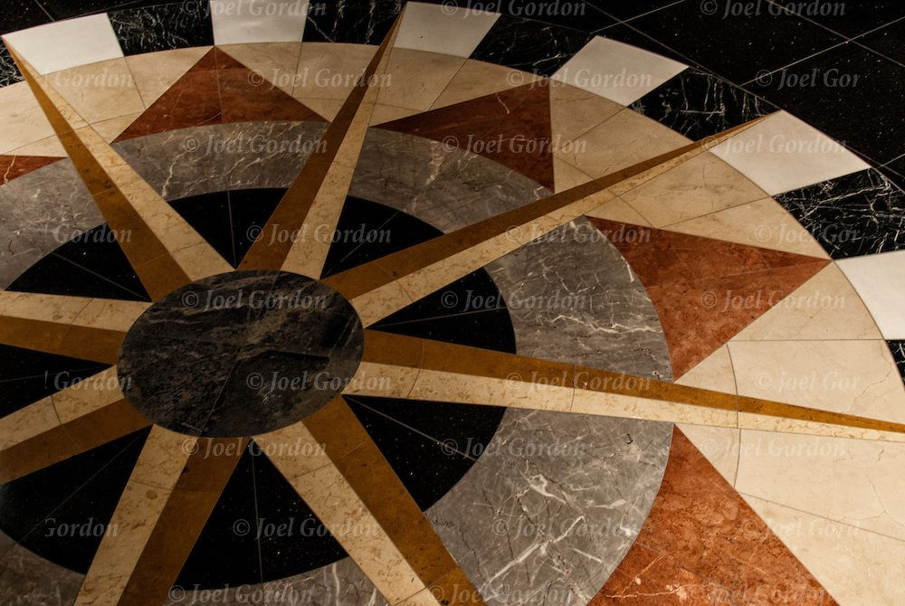 Close Up Of Art Deco Design Detail On Marble Floor Tiles