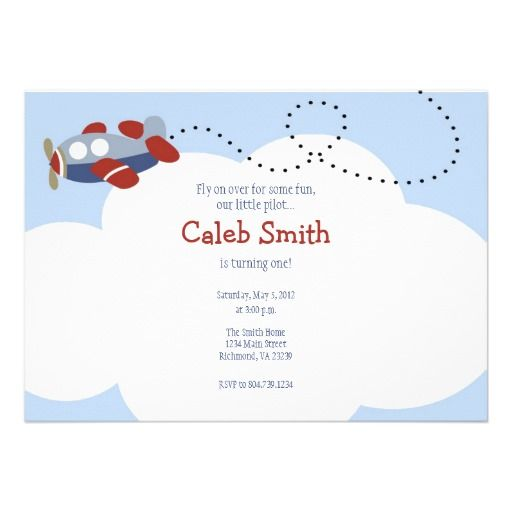 Airplane Cloud 1 Birthday Invitation Airplanes and Cloud - best of invitation birthday party text