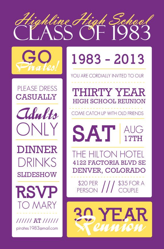 Poster Style Purple And Yellow Class Reunion Invitation – Reunion Party Invitations