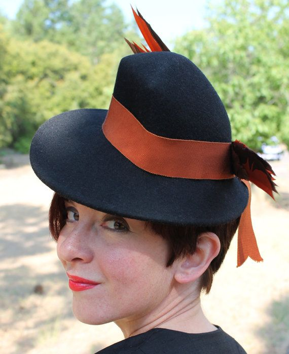 Vintage 1930s 1940s-Style Black Felt Fedora with Vintage Ribbon & Faux Bird in Back