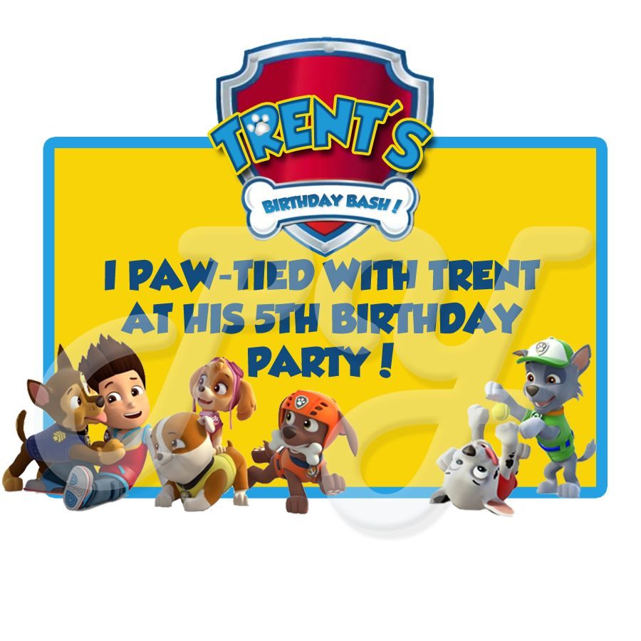 Paw Patrol Personalized Party Favor