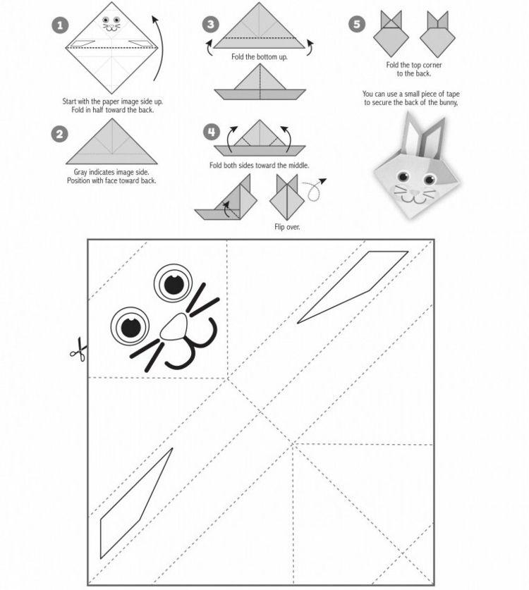 Origami Hase Kinder Basteln Vorlage Gesicht Anleitung Origami Hase Hasen Basteln Kinder Basteln Vorlagen