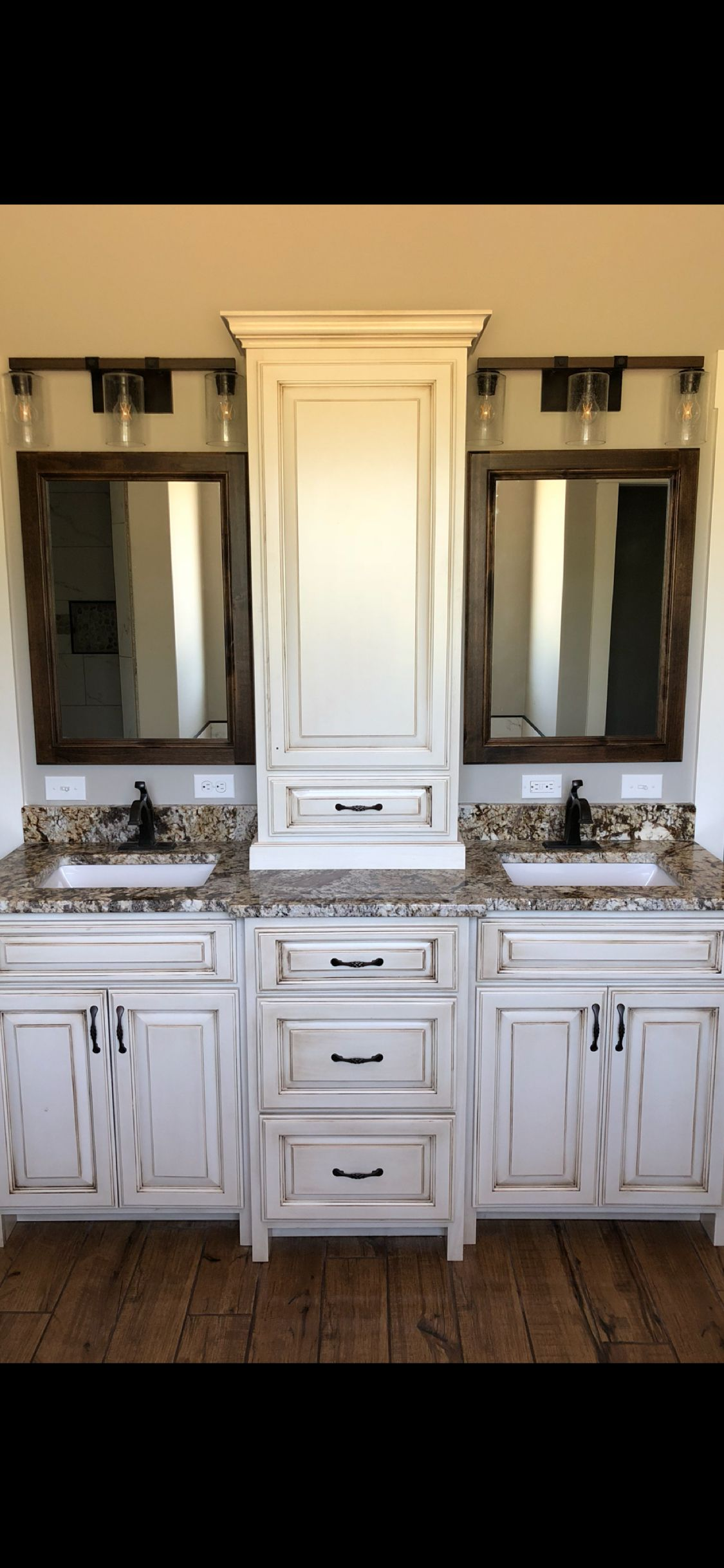 White Dove Chocolate Glazed Cabinets