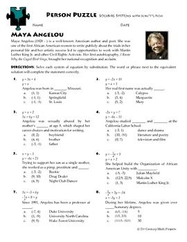 Person Puzzle -- Systems with Substitution - Maya Angelou ...