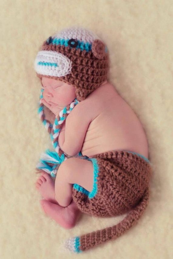 Instant Download Sock Monkey Hat And Diaper Cover Set Pdf Crochet