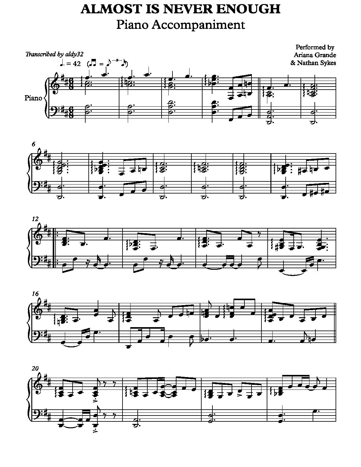 Almost Is Never Enough Piano Sheet Music Piano 074 Jpg Piano