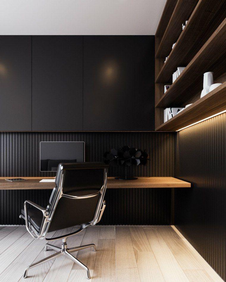 Espace de travail avec bureau en bois