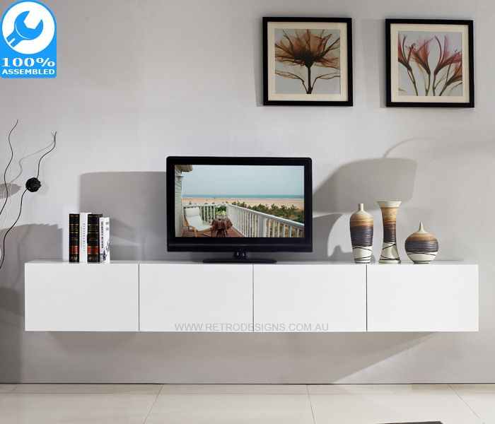 2 4m Majeston White Floating Tv Cabinet In 2020