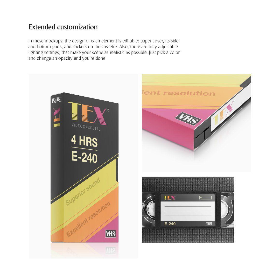 Vhs Cassette Mockups Set Vhs Cassette Packaging Mockup Cassette