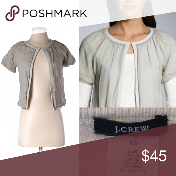 SOLD J. Crew Gray Silk Short Sleeve Cardigan | Chiffon cardigan ...