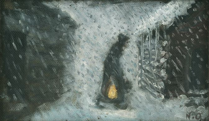 Nikolai Astrup (1880-1928):  'The Old Woman with the Lantern', before 1899