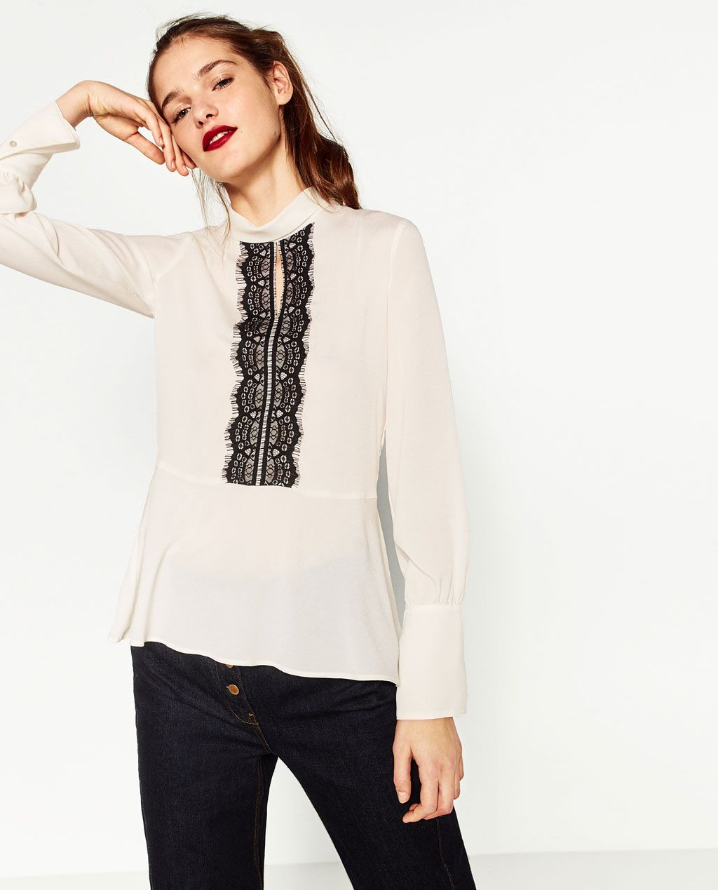 24f77321 Image 2 of CONTRAST LACE BLOUSE from Zara | blouses | Blusas de ...