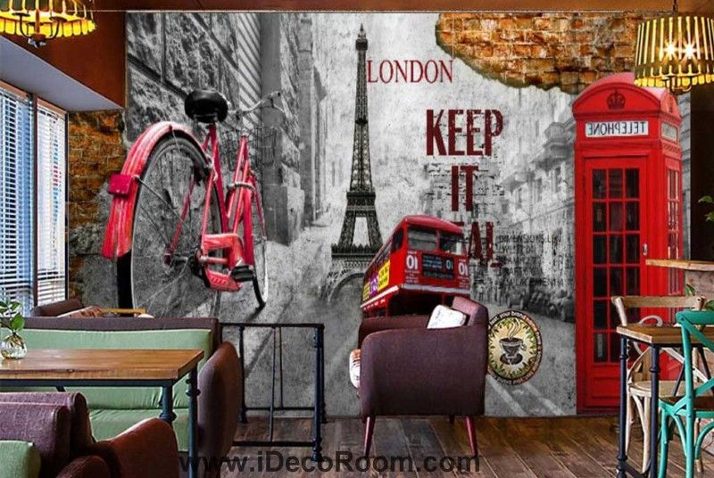 3d graphic design wallpaper with london icons and eiffel