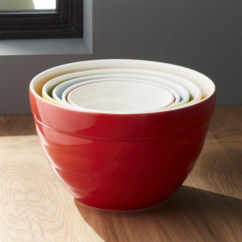 Set Of 5 Baker Nesting Bowls Crate And Barrel Bowl Mixing Bowls Nesting Bowls