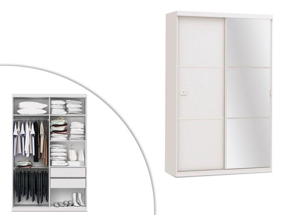 380e armoire avec miroir peggy 2 portes coulissantes l for Armoire blanche porte coulissante miroir