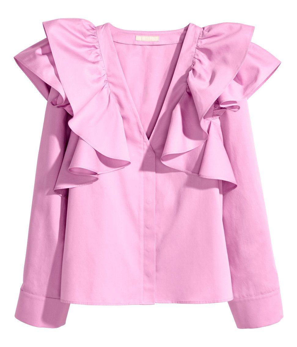 9635c0cabe1bf Ruffled Blouse | H&M Pastels | H&M PRETTY PASTELS | Ruffle blouse ...