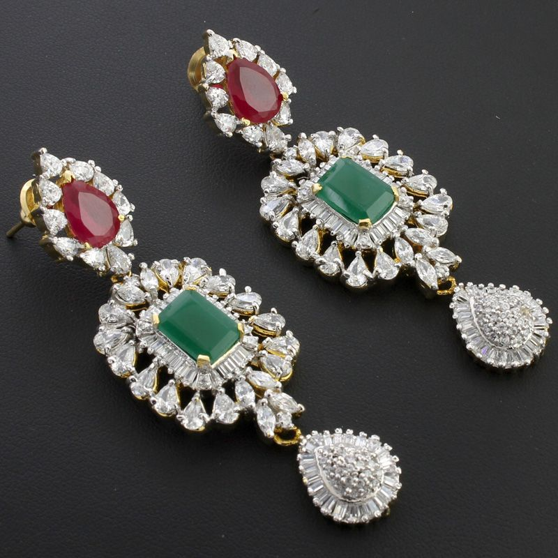 White Cz Red Green Long Earrings @ Indiatrend For $82.99USD