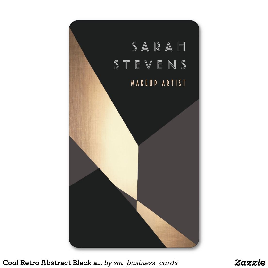 Cool Retro Abstract Black and Gold Art Deco Standard Business Card ...