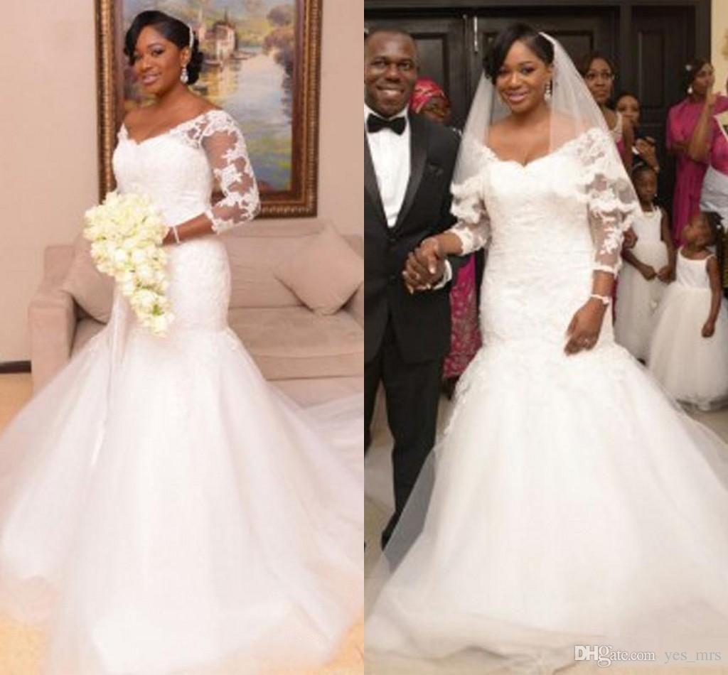 African nigerian mermaid wedding dresses 2017 new cheap long sleeves african nigerian mermaid wedding dresses 2017 new cheap long sleeves lace appliques v neck illusion plus ombrellifo Images