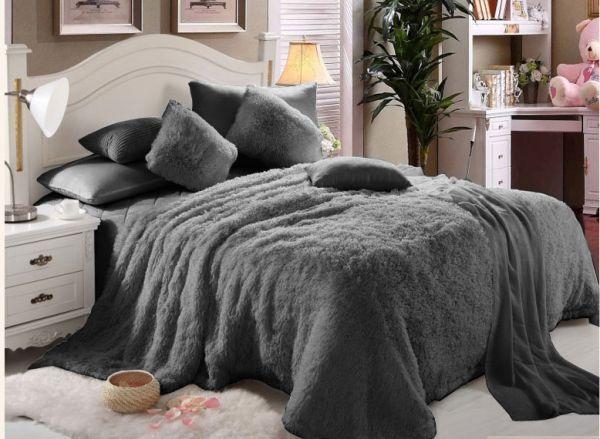 Luxe Faux Fur 6 Pc Blanket Set Grey King Size King Size