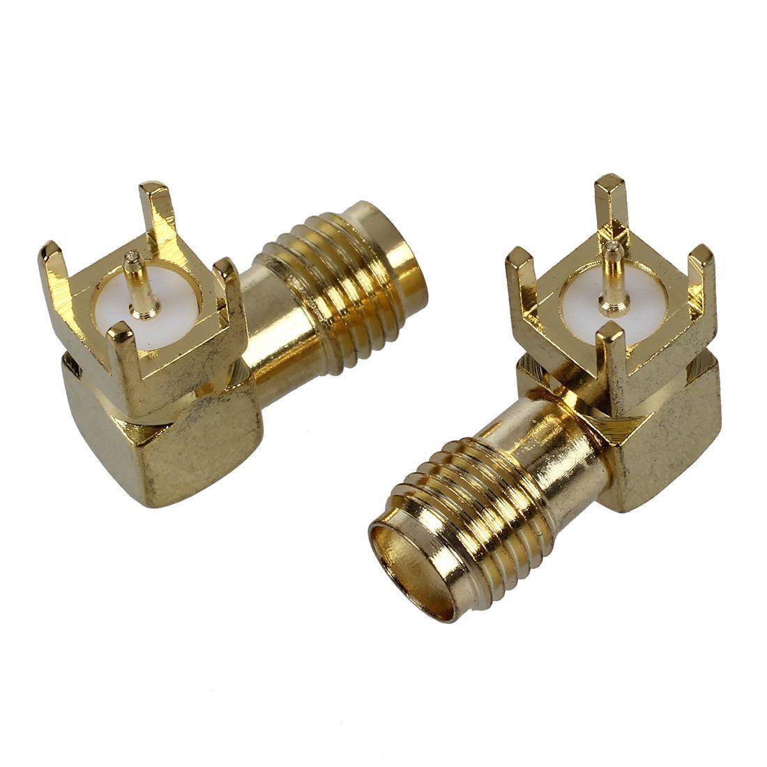 2 Pcs Sma Female Jack Panel Mount Pcb Solder Connectors Gold Tone Connectors Ebay
