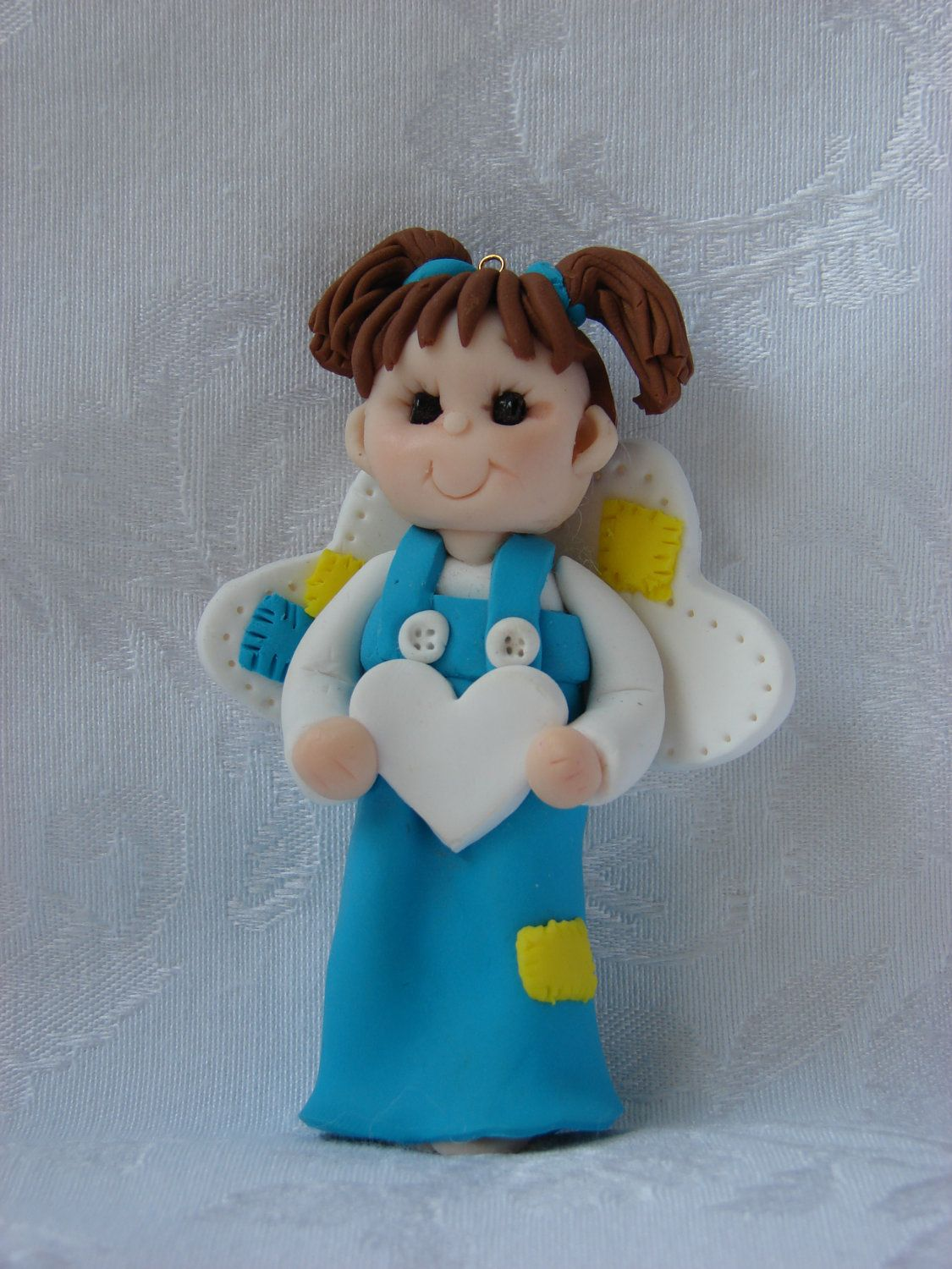 personalized patchwork angel polymer clay childrens christmas