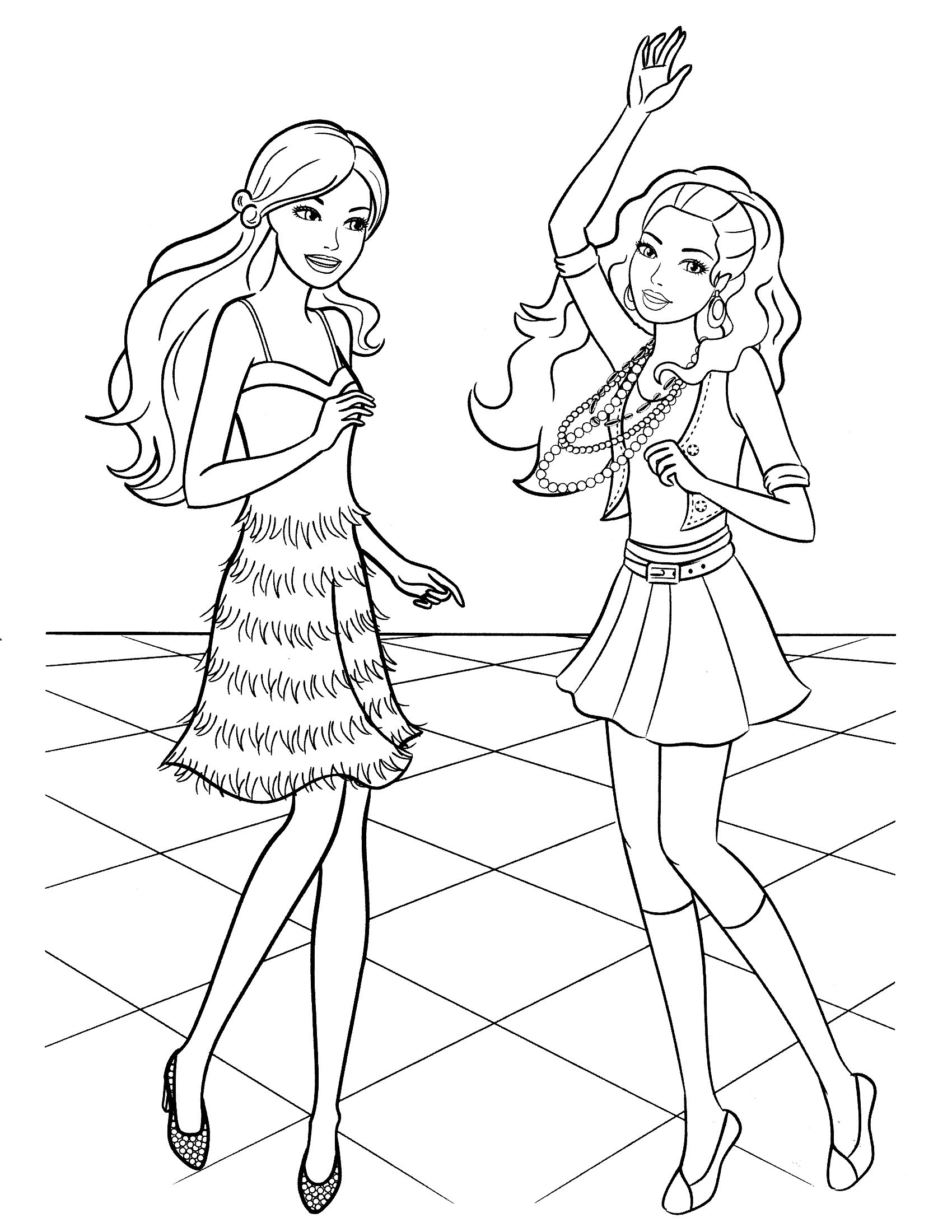 Barbie coloring pages coloring kifest k coloring for Fashion barbie coloring pages