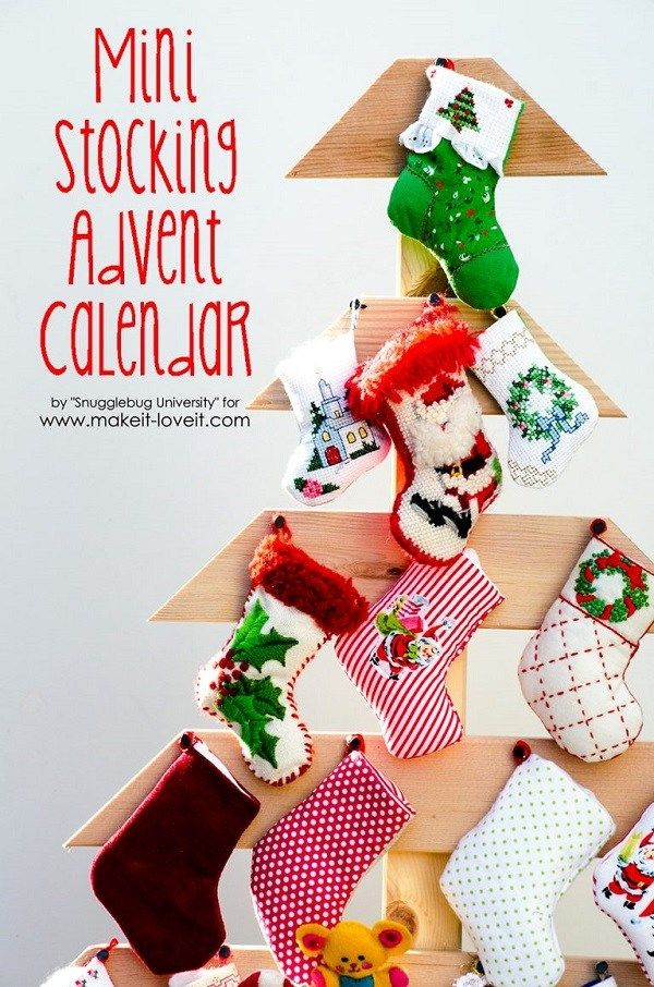 Free pattern Mini stocking Advent calendar and wooden tree display