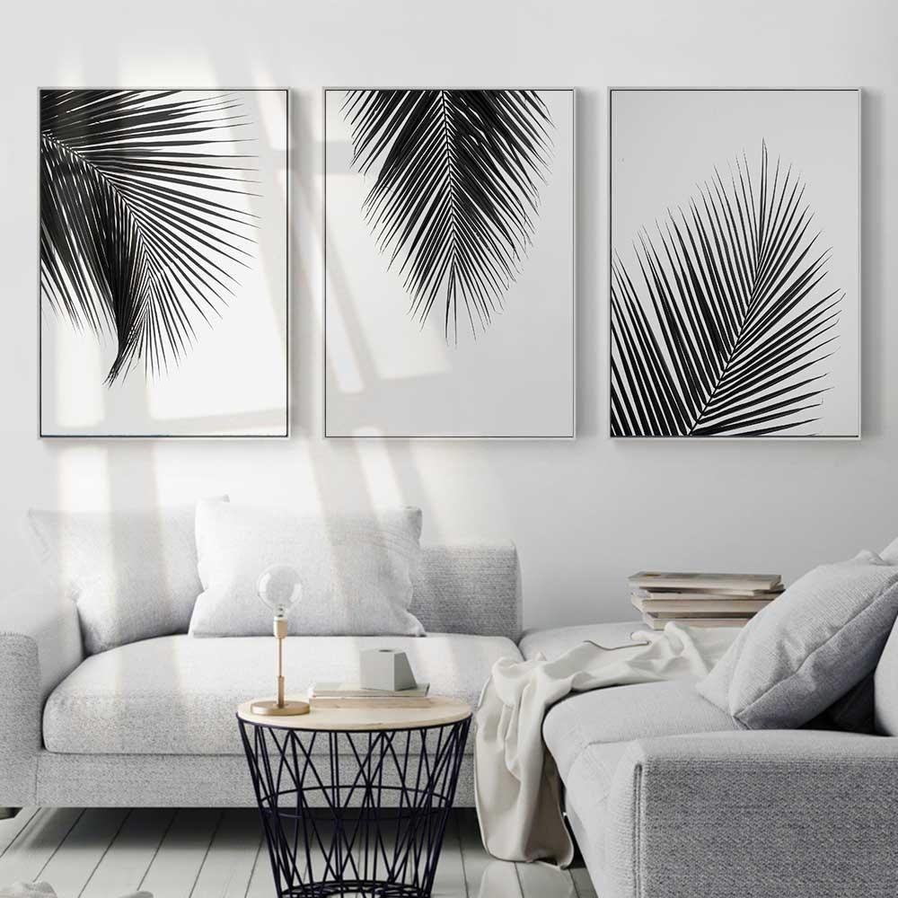 Black u white leaves in living room decorating pinterest