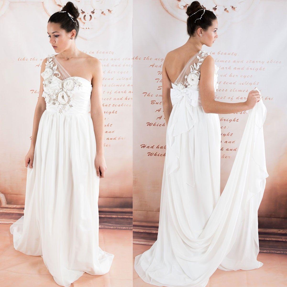 Eine Schulter chiffon Perlen Blumen sexy Brautkleid | Perlen blume ...