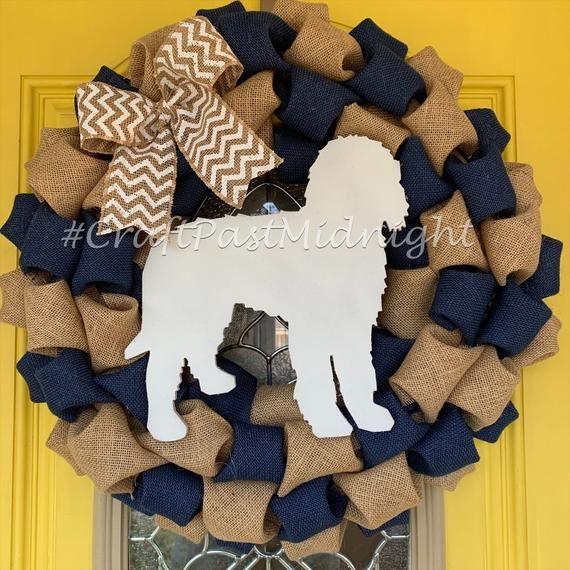 "Photo of 22 ""Goldendoodle Wreath – Golden Doodle Wreath – Dog Burlap Wreath – Gift for Dog Lover – Goldendood"