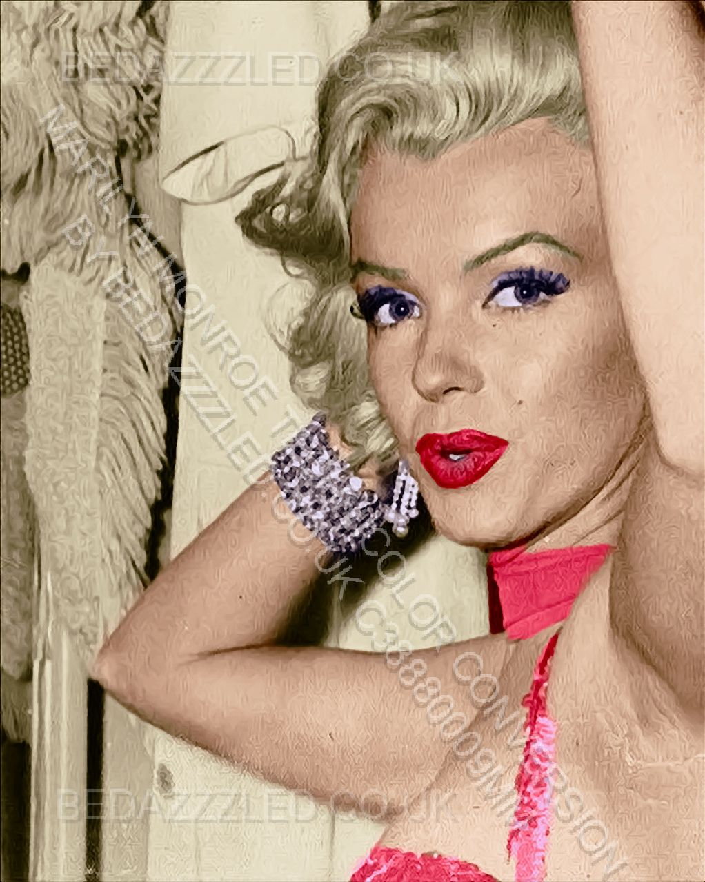 MARILYN MONROE TECHNICOLOR CONVERSION/RESTORATION BY BEDAZZZLED FROM EXTREMELY GRAINY B/W PRINT