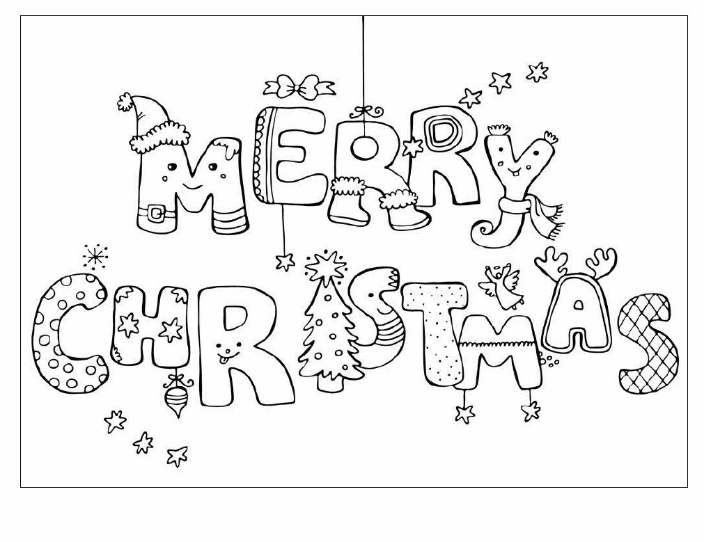 Heres A Pretty Christmas Colouring Page With Lovely Merry Word Design For The Kids To Print And Colour